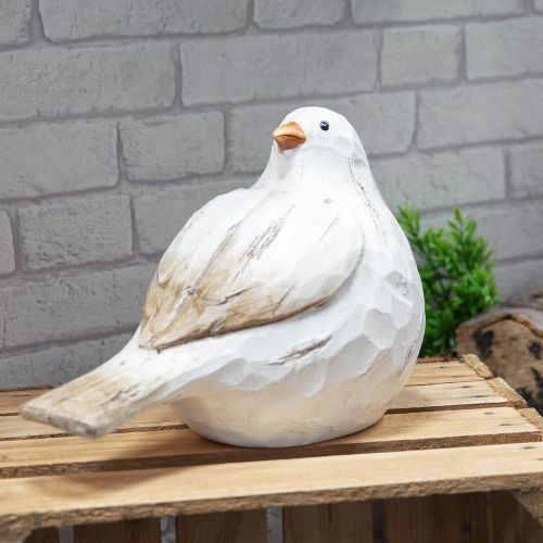 White Bird Sculpture Resin Garden Ornament - Whitewashed Wood Effect Statue